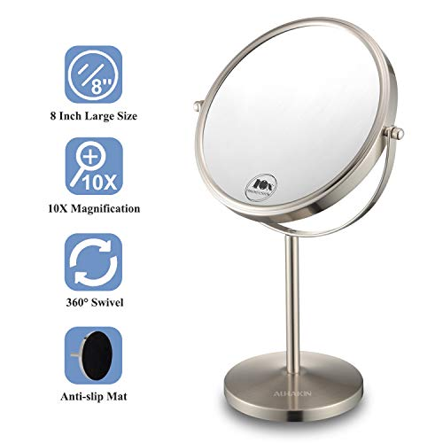 Magnifying Makeup Mirror, 8-Inch Double Sided Vanity Tabletop Mirror with 10X Magnification, Nickel Finished ALHAKIN (On Stand Vanity Mirror)