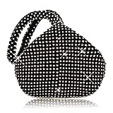 TOPCHANCES Women Rhinestones Crystal Evening Clutch Bag Party Prom Wedding Purse (Black)