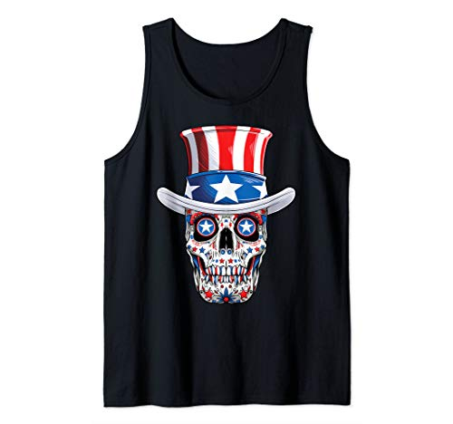 Sugar Skull 4th of July Fourth Men Women USA American Flag  Tank Top]()