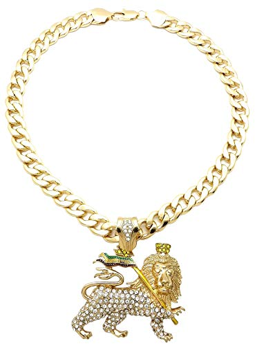 GWOOD Lion of Judah Pendant with Crystal Rhinestones and 25 Inch Link Necklace (Gold Color)