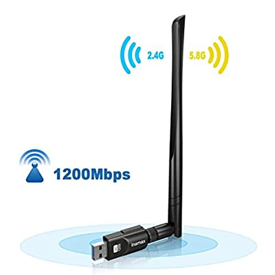 USB Wifi Adapter 1200Mbps, USB 3.0 Wireless Network Wifi Dongle with 5dBi Antenna for PC /Desktop/Laptop/Tablet,Dual Band 2.4G/5G 802.11 ac,Support Windows 10/8/8.1/7/Vista/XP/2000, Mac OS 10.4-10.12.