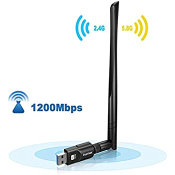 Inamax USB WiFi Adapter 1200Mbps, USB 3.0 Wireless Network WiFi Dongle with 5dBi Antenna for PC/Desktop/Laptop/Mac, Dual Band 2.4G/5G 802.11ac,Support ...