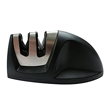 Athema Professional Manual knife sharpener, 2 Stage System - Coarse & Fine, Protable, Black