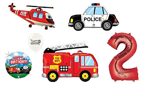 Red Number (1st-9th Birthday Option) Rescue Team Ambulance Fire Truck Police First Responders Themed Birthday Party Balloon Bouquet Bundle (2nd Birthday) ()