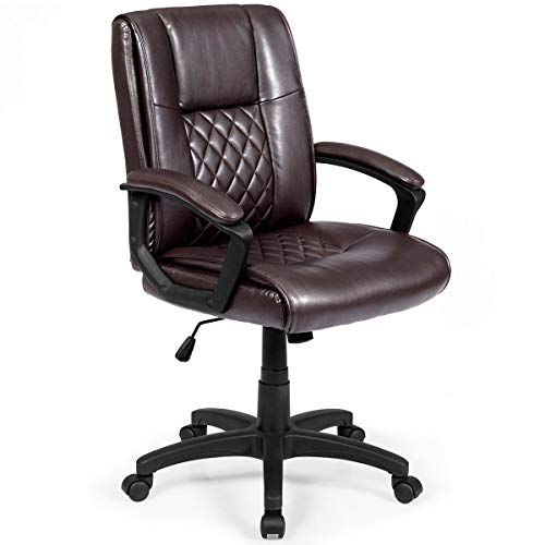 (Giantex Mid-Back Ergonomic Office Chair W/PU and PVC Leather Padded Armrest Upholstered and 360 Degree Swivel,Height Adjustable Executive Computer Task Chair (26.5