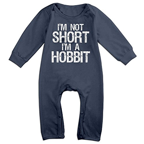 Hobbit Costume Baby (Baby Infant Romper I'm Not Short I'm A Hobbit Long Sleeve Jumpsuit Costume Navy 24 Months)