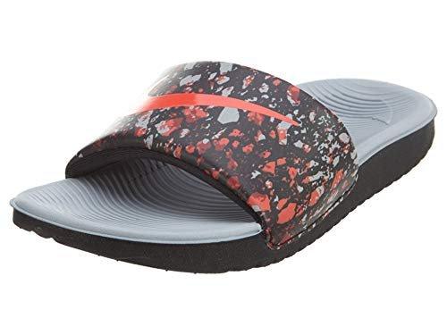 NIKE Kids' Kawa Slide (GS/PS) Print Athletic Sandal (12 M US Little Kid, Black/Bright Crimson-Wolf Grey)