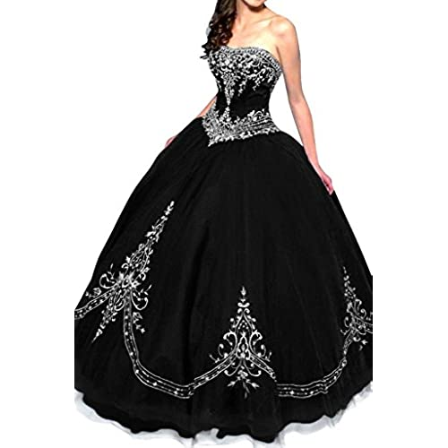 DLFASHION Womens Strapless Ball Gown Embroidered Quinceanera Dress Size 12 Black