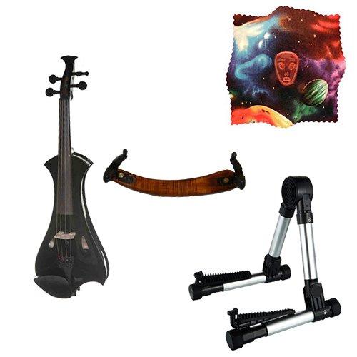 Meisel Electric Violin Pack Black w/Silver Stand, Tuner & Alien Rosin