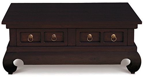 - NES Furniture abc10375 Oriental Coffee Table Fine Handcrafted Solid Mahogany Wood, 39 inches, Chocolate