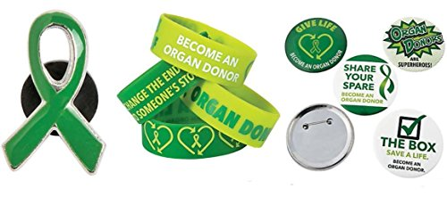 Donor Awareness Enamel Pin, Bracelet and Badge Button Package. Show Support