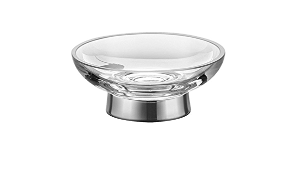 Amazon Com W Luxury Clear Glass Free Standing Round Soap Dish Holder Tray For Bathroom Polished Chrome Small 3 9 Home Kitchen
