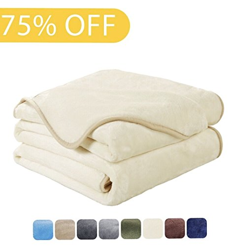 Luxury Fleece Super Soft Thermal Blanket Warm Fuzzy Microplush Lightweight Blankets for Bed Sofa, Seashell Series,Queen,90 by 90 Inches,Ivory