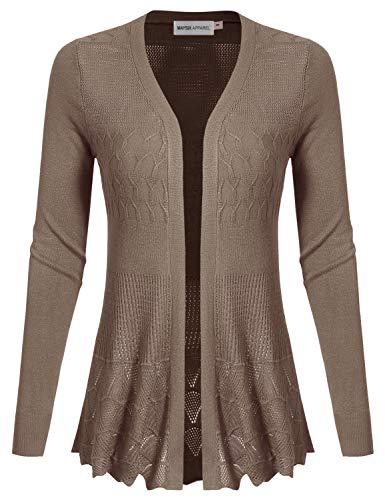 MAYSIX APPAREL Long Sleeve Lightweight Crochet Knit Sweater Open Front Cardigan For Women MOCHA M