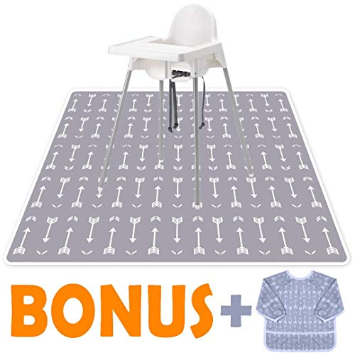 """Little Growers Baby Splat Mat for Under High Chair - 51"""" Spill 'n' Splash Baby Floor Mat and Baby Food Smock! Under Highchair Mat for Eating Mess with Non-Slip Backing! 100% Waterproof Floor Protector from Little Growers"""