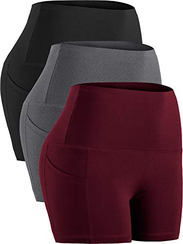 Cadmus Women's Tummy Control Workout Running Short Out Pocket,3 Pack,1016,Black & Grey & Wine Red,Small