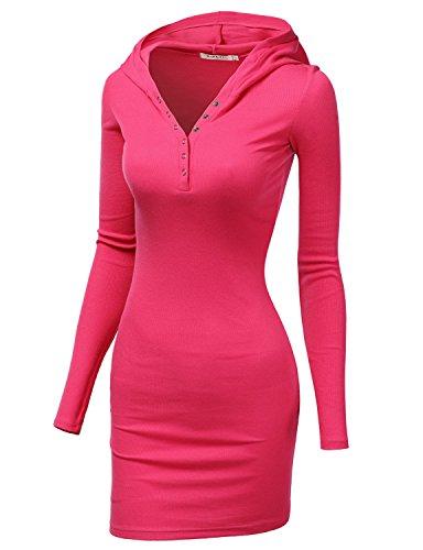 Doublju Womens Casual Cotton Henley Neck Mini Dress MAGENTA,XL