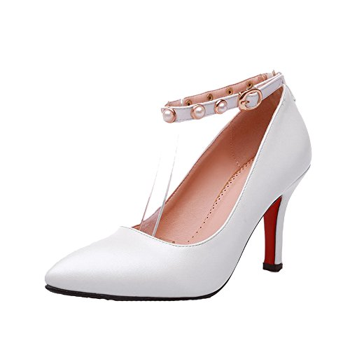 Morbido scarpe A Punta Materiale Solido Allhqfashion Dell'inarcamento Donne Punta Chiusi Bianca Pompe tacchi zPAnvwwqp