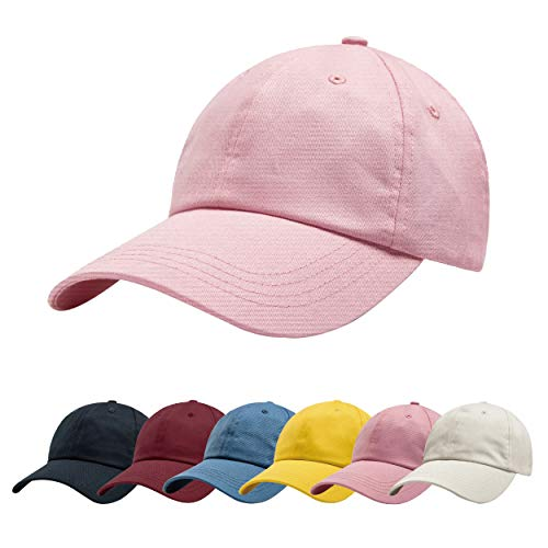 ZOWYA Classic Cotton Plain Baseball Cap-Dad Hat-Polo Cap-Casual Cap-Unisex-Adjustable Size-Unstructured-Soft Candy Pink