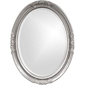 Amazon Com Howard Elliott Queen Ann Oval Hanging Wall Mirror Beveled Vanity Glossy Nickel 25 X 33 Inch Home Amp Kitchen