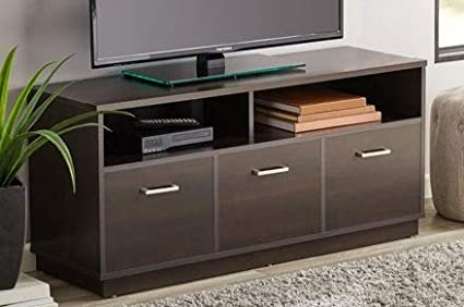 Amazon Com Tv Stand For 50 Inch Tv Espresso Wood With 3 Cabinet