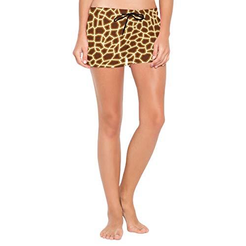(Fitchfdg Fannyhb Tricolor Giraffe Decorations Beach Shorts for Woman Summer Sexy Fashion Beach Board Shorts Black)