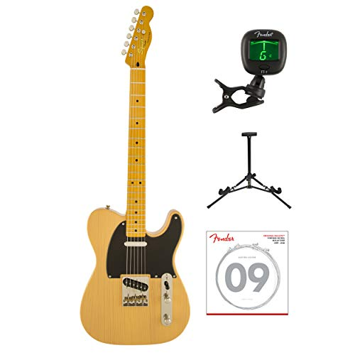 Fender Squier Classic Vibe Telecaster '50s Electric Guitar, Butterscotch Blonde with Tuner, strings & stand