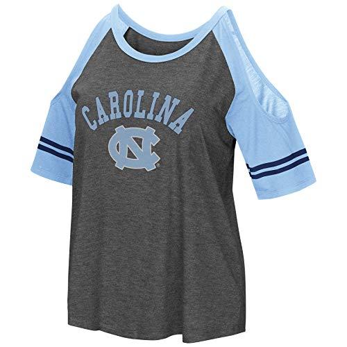 Colosseum NCAA Women's Casual Cold Shoulder Short Sleeve T-Shirt-Heather Charcoal-North Carolina Tar Heels-XL ()