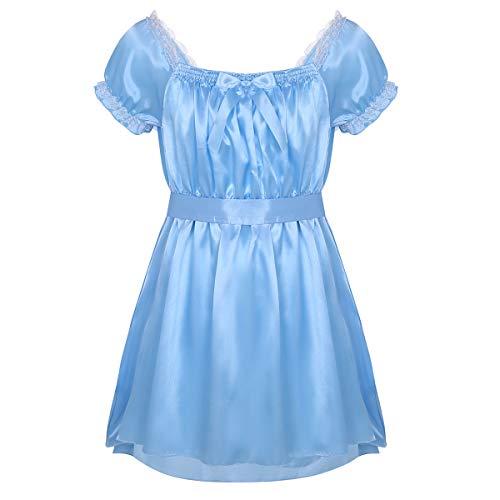 inlzdz Men's Sissy Crossdress Lingerie Ruffled Frilly Satin High Low Dress Nightwear Pajamas Blue XX-Large