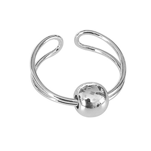 (yihan jewelry Sterling Silver Plated Geometric simplicity Round Balls Women Adjustable Open joint Band Ring)