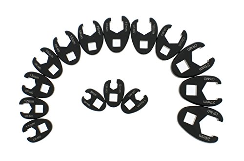 ABN Jumbo Crowfoot Flare Nut Wrench Set Metric 15-Piece Tool Kit for 3/8'' Inch and 1/2'' Inch Drive Ratchet by ABN (Image #2)