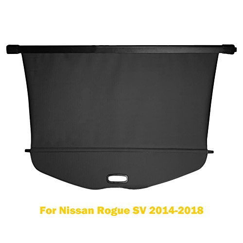 AUXMART Cargo Cover for 2014-2018 Nissan Rogue SV Black Retractable Trunk Shielding Shade (not fit for Rogue Select)