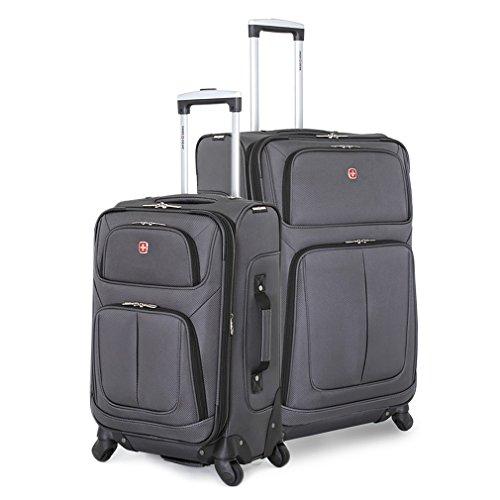 SwissGear 2 PC Spinner Wheel Black Suitcase Set - Softshell & Lightweight (Grey) by SwissGear