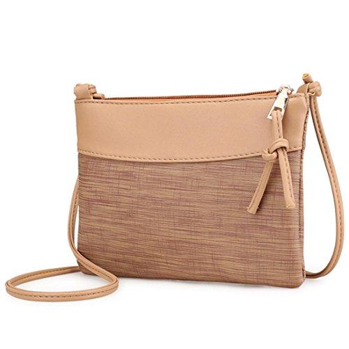 Soft PU Wristlet Crossbody Cell Women Khaki Leather Phone Clutch Bag Purse dTR7ngF