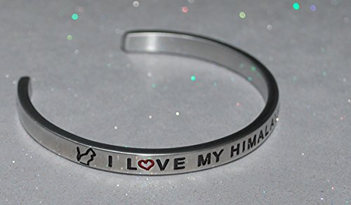 (I Love My Himalayan Cat  :  Engraved Handmade Jewelry Bracelet Silver Color)