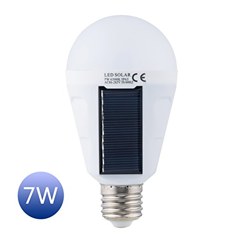Solar Panel Light Bulb LED Powered Light,Sky Castle Portable Waterproof Emergency Light Bulb,7w 1200mAH with White Light for Indoor and Outdoor,Garden,Hiking,Camping