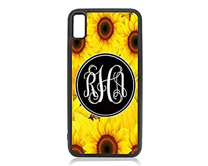 5d6c9cde7d047 Amazon.com: Sunflower Monogrammed iPhone X Case,Sunflower iPhone XS ...