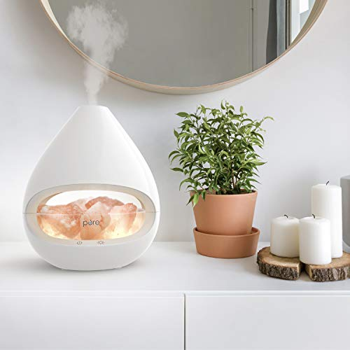 Pure Enrichment PureGlow Crystal - Original 2-in-1 Himalayan Salt Lamp & Ultrasonic Essential Oil Diffuser with Aromatherapy, 100% Pure Himalayan Salt, 5 Light Settings, 160ml Tank Lasts Up to 16 Hr