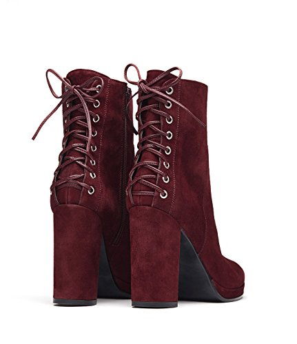 PoiLei Fiona - chaussure femme / élégantes bottines en cuir à talon haut epais - bout rond et detail rouge