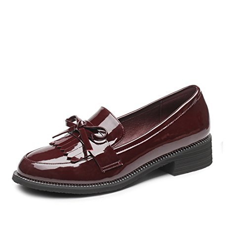 shoes with with the Red Wine is head womanshallow The small round thick leather mouth fringed spring the flat shoe shoes aqYS7