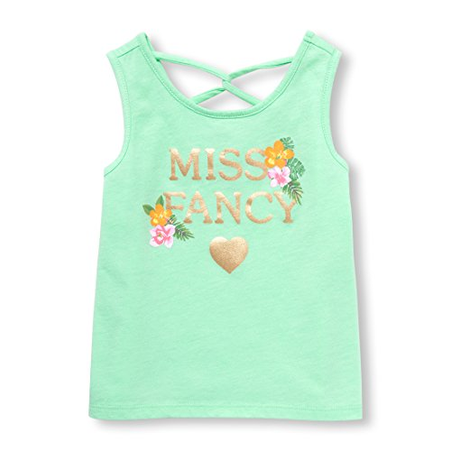 The Children's Place Baby Girls Racerback Casual Tank Top, Soft SAGE 98116, 3T