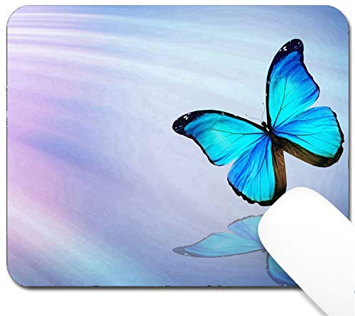 MSD Mouse Pad with Design - Non-Slip Gaming Mouse Pad - Image 34740770 Blue Butterfly on Blue Background