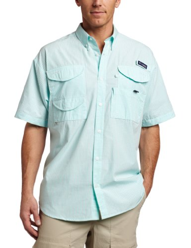 Columbia Mens Super Bonehead Classic Short Sleeve Fishing Shirt (Gulf Stream Gingham, Medium)