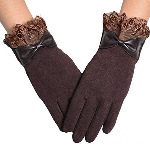 - Feitong Lace Glove Women Mittens Winter Leather Bowknot Gloves Screen Military Gloves,Coffee,