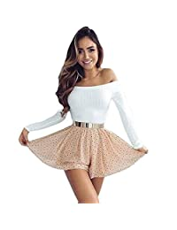 Tenworld Knitting Sweater Short T-shirt Casual Off Shoulder Tops for Women