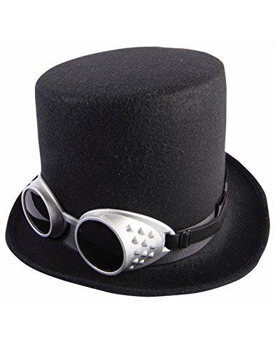 Steampunk Hat (Steampunk Black Top Hat with Silver Goggles)