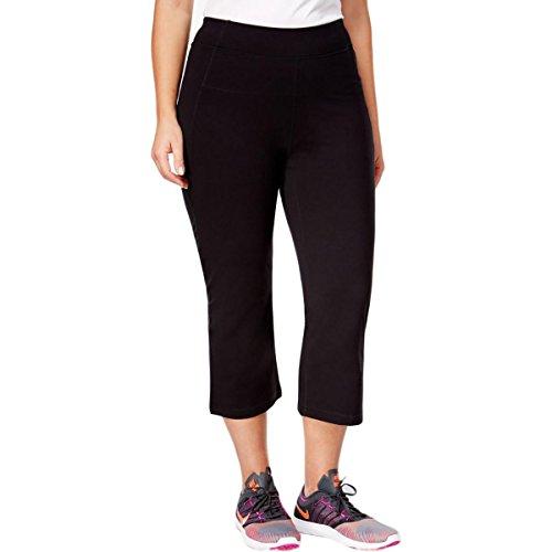 Calvin Klein Performance Women's Plus SizeHigh Waist Narrow Slit Back Leg Capri Size, Black, 1X
