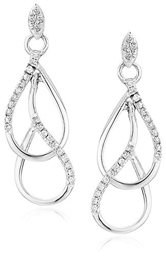 1/6 cttw Diamond Drop Earrings in 10K White Gold