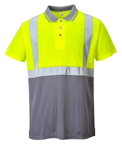 Portwest Workwear Mens Hi-Vis 2-Tone Polo Shirt YeGrey Medium