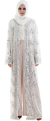 Open Abaya for Women,Long Sleeve Soft Sequins Embroidered Sheer Lace Cardigan Muslim Islamic,White,Tag XXL Length 60 inch